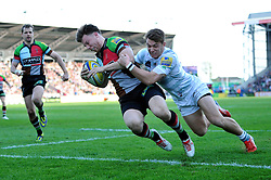 Sam Smith (Harlequins) runs in Harlequins' second try of the match - Photo mandatory by-line: Patrick Khachfe/JMP - Tel: Mobile: 07966 386802 29/03/2014 - SPORT - RUGBY UNION - The Twickenham Stoop, London - Harlequins v London Irish - Aviva Premiership.