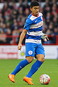 Queens Park Rangers midfielder Massimo Luongo wins the ball in midfield during The FA Cup third round match between Nottingham Forest and Queens Park Rangers at the City Ground, Nottingham, England on 9 January 2016. Photo by Aaron Lupton.