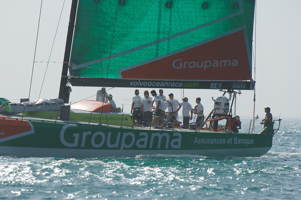 volvo ocean race, abu dhabi UAE January 2012.Groupama team.skiper franck Cammas