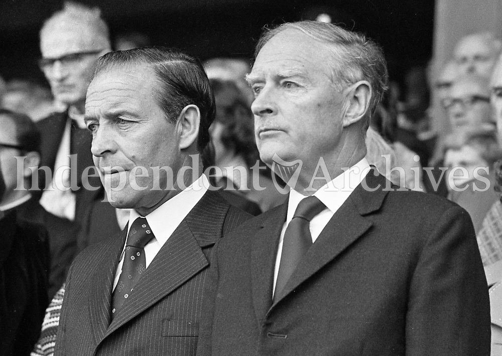 The President of the GAA Con Murphy and the Taoiseach Mr Liam Cosgrave at the All-Ireland hurling final at Croke Park.<br />
