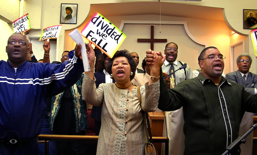 A Church rally for Kendra James with local ministers and community members is conducted for all who wished to voice their concerns related to her killing. Ministers were invited to the pulpit at the finish to sing and show unity at the Christ Memorial Church of God in Christ Church.