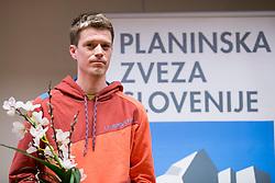 Nejc Kuhar at the Alpine Association of Slovenia award ceremony for the most successful in alpinism, sports and ice climbing and turning skiing in 2017, on January 31, 2018 in Gospodarsko raztavisce, Ljubljana, Slovenia. Photo by Urban Urbanc / Sportida