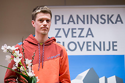 Nejc Kuhar at the Alpine Association of Slovenia award ceremony for the most successful in alpinism, sports and ice climbing and turning skiing in 2017, on January 31, 2018 in Gospodarsko raztavisce, Ljubljana, Slovenia. Photo by Urban Urbanc / Sportida