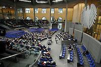 """22 MAR 2007, BERLIN/GERMANY:<br /> Uebersicht, Plenarsaal, Bundestagsdebatte zum Thema """"50 Jahre Roemische Verträge"""", Deutscher Bundestag<br /> IMAGE: 20070322-01-015<br /> KEYWORDS: Übersicht, Plenum, Reichstag, Bundesadler"""