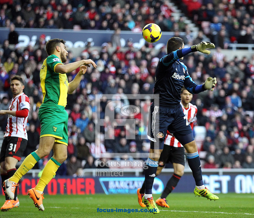 Picture by Paul Chesterton/Focus Images Ltd +44 7904 640267<br /> 21/12/2013<br /> Sunderland's Vito Mannone and Robert Snodgrass of Norwich in action during the Barclays Premier League match at the Stadium Of Light, Sunderland.