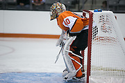 RIT's Jordan Ruby in net during a game against Brock University at the Gene Polisseni Center on Saturday, October 4, 2014.