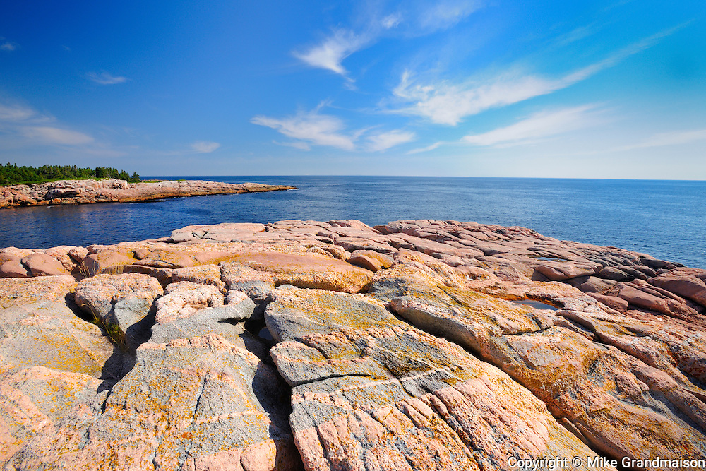 Rocky shoreline along the Atlantic Ocean<br /> Cape Breton Highlands National Park<br /> Nova Scotia<br /> Canada