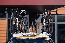 Hopefully the spare bikes won't be needed but they're ready. Just in case - Le Samyn des Dames 2016, a 113km road race from Quaregnon to Dour, on March 2, 2016 in Hainaut, Belgium.
