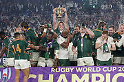 South Africa celebrates with the trophy after winning the World Cup Japan 2019, Final rugby union match between England and South Africa on November 2, 2019 at International Stadium Yokohama in Yokohama, Japan - Photo Laurent Lairys / ProSportsImages / DPPI