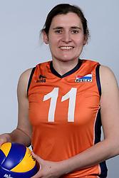 06-05-2014 NED: Selectie Nederlands zitvolleybal team vrouwen, Leersum<br /> In sporthal De Binder te Leersum werd het Nederlands team zitvolleybal seizoen 2014-2015 gepresenteerd / Judith Jacobs