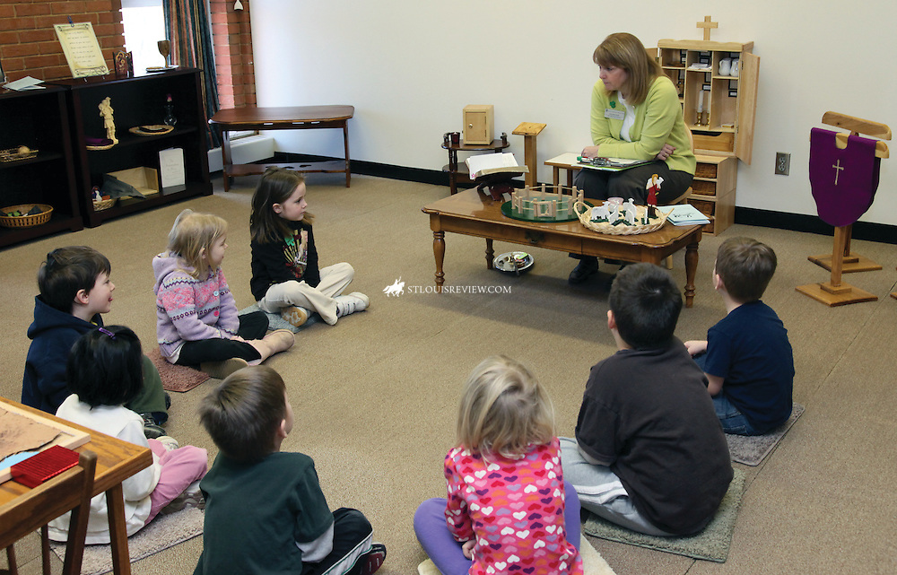 Colleen Pijut recently led a class of pre-kindergartners in religious formation at Notre Dame Preschool, using the Cathechesis of the Good Shepherd approach. The children develop a relationship with Jesus through the class and discover how much He loves them. The school offers a full curriculum.