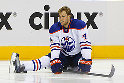 Dec 17, 2011; San Jose, CA, USA; Edmonton Oilers left wing Taylor Hall (4) warms up before the game against the San Jose Sharks at HP Pavilion.  San Jose defeated Edmonton 3-2. Mandatory Credit: Jason O. Watson-US PRESSWIRE