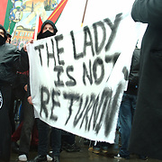 People from the miners association of North East England came to protest in Trafalgar square against the legacies of Baroness Thatcher