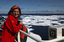 ATLANTIC OCEAN ABOARD ARCTIC SUNRISE 31MAY11 - Assiatant cook Rocio Peres of Spain   aboard the Greenpeace Ship Arctic Sunrise in the Arctic sea ice in the Labrador Sea.....jre/Photo by Jiri Rezac / Greenpeace