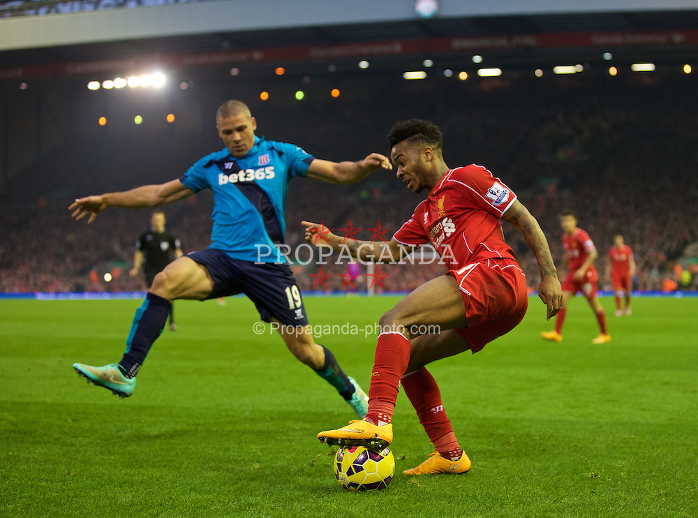 LIVERPOOL, ENGLAND - Saturday, November 29, 2014: Liverpool's Raheem Sterling in action against Stoke City during the Premier League match at Anfield. (Pic by David Rawcliffe/Propaganda)