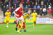 Joe Pigott of AFC Wimbledon (39) and Harry Souttar of Fleetwood Town (6) in action during the EFL Sky Bet League 1 match between Fleetwood Town and AFC Wimbledon at the Highbury Stadium, Fleetwood, England on 10 August 2019.