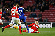 Ipswich Town defender Trevoh Chalobah (6) is tackled by Middlesbrough midfielder Muhamed Besic (37)  during the EFL Sky Bet Championship match between Middlesbrough and Ipswich Town at the Riverside Stadium, Middlesbrough, England on 29 December 2018.