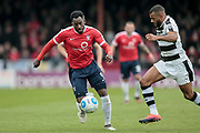 Amari Morgan-Smith (York City) runs with the ball during the Vanarama National League match between York City and Forest Green Rovers at Bootham Crescent, York, England on 29 April 2017. Photo by Mark PDoherty.