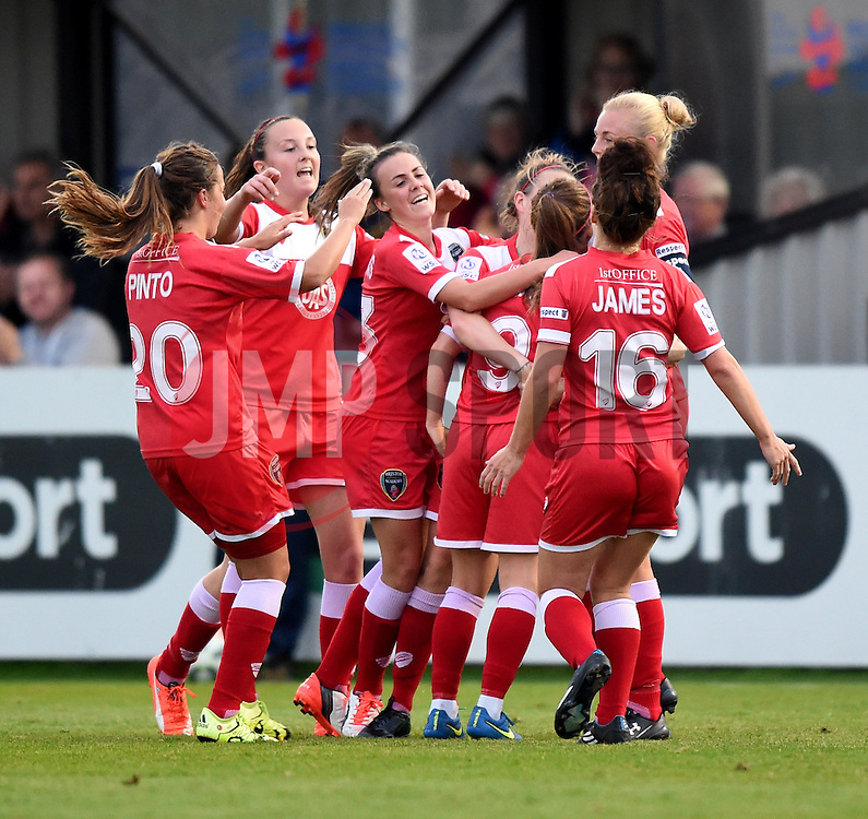 Christie Murray of Bristol Academy Women is mobbed by team mates after scoring against Liverpool Ladies - Mandatory by-line: Paul Knight/JMP - Mobile: 07966 386802 - 04/10/2015 -  FOOTBALL - Stoke Gifford Stadium - Bristol, England -  Bristol Academy Women v Liverpool Ladies FC - FA Women's Super League
