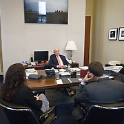Senator Frank Lautenberg (D-NJ) speaks with gathered staff inside his office in Washington following a hearing to vote for an Obama administration nominee on Thursday, May 16, 2013.  Sen. Lautenberg had not been in Washington since February 28, as weakness in his legs has prevented him from traveling to the Capitol.He died only a few weeks later, on June 3, 2013. John Boal Photography
