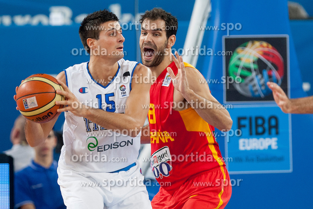Andrea Cinciarini #15 of Italy vs Jose Calderon #8 of Spain during basketball match between National teams of Italy and Spain in 2nd Round at Day 13 of Eurobasket 2013 on September 14, 2013 in SRC Stozice, Ljubljana, Slovenia. (Photo By Urban Urbanc / Sportida)