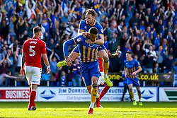Carlton Morris of Shrewsbury Town celebrates with teammate Alex Rodman after scoring a goal to make it 1-0 - Mandatory by-line: Robbie Stephenson/JMP - 13/05/2018 - FOOTBALL - Montgomery Waters Meadow - Shrewsbury, England - Shrewsbury Town v Charlton Athletic - Sky Bet League One Play-Off Semi Final