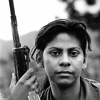 Nicaragua. 1984. Young woman soldier in the FSLN army