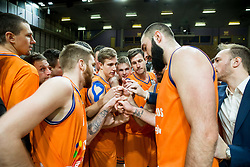 Players of Helios Suns celebrate after winning during basketball match between KK Petrol Olimpija and KK Helios Suns in Round #9 of Liga Nova KBM 2018/19, on December 14, 2018 in Arena Tivoli, Ljubljana, Slovenia. Photo by Vid Ponikvar / Sportida