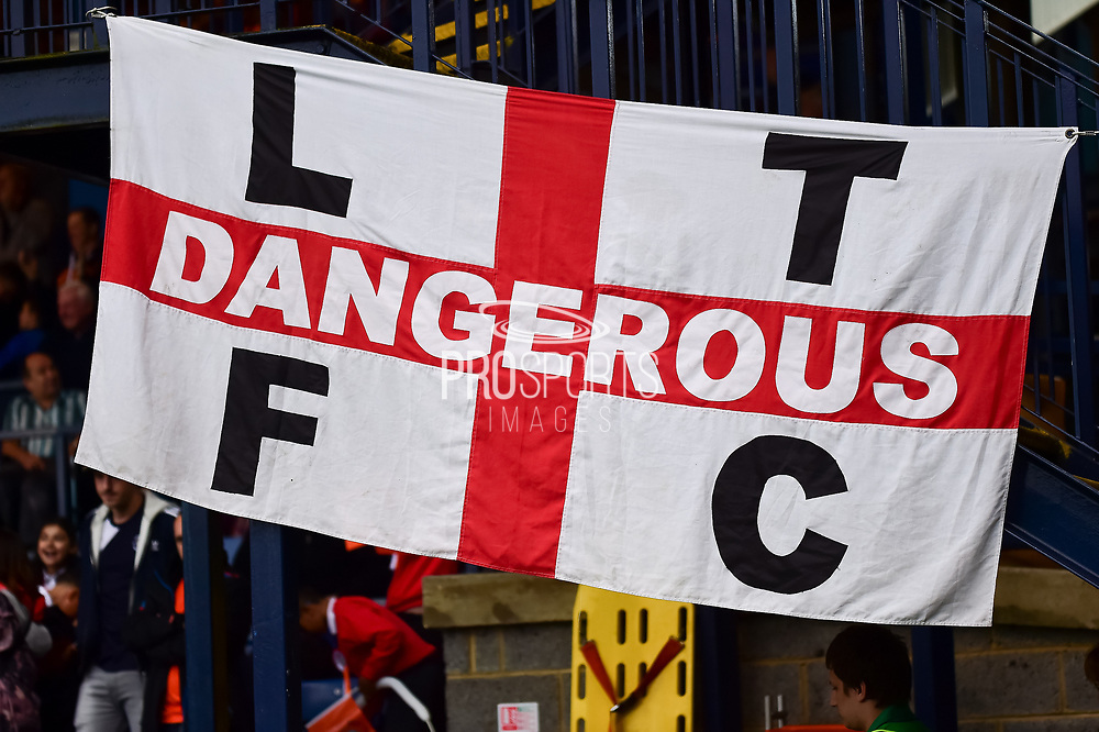 England flag with LTFC Dangerous written on it during the EFL Sky Bet League 2 match between Luton Town and Stevenage at Kenilworth Road, Luton, England on 14 October 2017. Photo by Dennis Goodwin.
