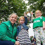 27.07.17.          <br /> Ireland Women&rsquo;s Rugby captain Niamh Briggs was mobbed by young fans in Limerick earlier today (Thursday) as she arrived in the city by boat for the Women&rsquo;s Rugby World Cup trophy tour.<br /> <br /> Pictured are left to right, Niamh Briggs, Ireland Women&rsquo;s Rugby captain, Julia, 3 and Isabel Tierney, 7 daughters of Tom Tierney coach of the Women's Team.<br /> <br /> <br />  The Limerick based garda and Munster fullback was escorted on the River Shannon by Limerick Marine Search and Rescue along with Nevsail kayakers as she made her way to Arthur&rsquo;s Quay jetty to be officially met by Mayor of Limerick, Cllr Stephen Keary. Picture: Alan Place