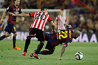 Barcelona´s Dani Alves (R) and Athletic de Bilbao´s Aritz Aduriz during 2014-15 Copa del Rey final match between Barcelona and Athletic de Bilbao at Camp Nou stadium in Barcelona, Spain. May 30, 2015. (ALTERPHOTOS/Victor Blanco)