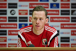 CARDIFF, WALES - Monday, March 30, 2015: Wales' Under-21 captain Gethin Jones during a press conference at the Cardiff City Stadium ahead of the 2017 UEFA European Under-21 Championship Qualifying Group 5 match against Bulgaria. (Pic by David Rawcliffe/Propaganda)