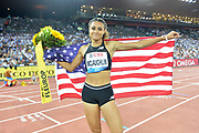 Sydney McLaughlin (USA) poses with Untied States flag after winning the women's 400m hurdles in 52.85 in the IAAF Diamond League final during the Weltkasse Zurich at Letzigrund Stadium, Thursday, Aug. 29, 2019, in Zurich, Switzerland. (Jiro Mochizuki/Image of Sport)