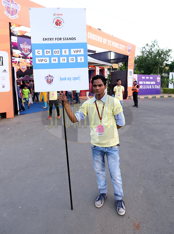Signage during match 33 of the Indian Super League (ISL) season 2  between FC Pune City and FC Goa held at the Shree Shiv Chhatrapati Sports Complex Stadium, Pune, India on the 8th November 2015.<br /> <br /> Photo by Sandeep Shetty / ISL/ SPORTZPICS
