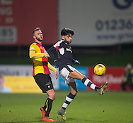 Dundee&rsquo;s Faissal El Bakhtaoui and Partick Thistle's Christie Elliot - Partick Thistle v Dundee in the Ladbrokes Scottish Premiership at Firhill, Glasgow - Photo: David Young, <br /> <br />  - &copy; David Young - www.davidyoungphoto.co.uk - email: davidyoungphoto@gmail.com