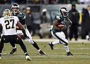 Philadelphia Eagles running back LeSean McCoy (25) runs the ball during the NFL NFC Wild Card football game against the New Orleans Saints on Saturday, Jan. 4, 2014 in Philadelphia. The Saints won the game 26-24. ©Paul Anthony Spinelli