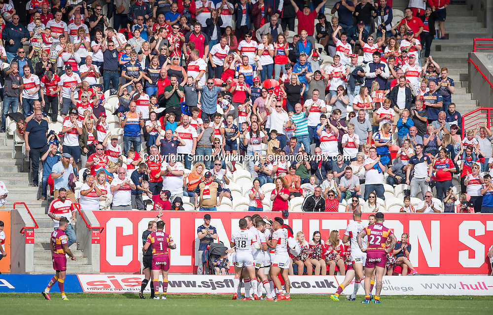 Picture by Allan McKenzie/SWpix.com - 24/09/2016 - Rugby League - First Utility Super League - The Qualifiers - Hull KR v Huddersfield Giants - KC Lightstream Stadium, Hull, England - Hull KR and fans celebrate Mitch Allgood's try.