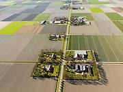 Nederland, Flevoland, Noordoostpolder, 16-04-2012; Wrakkenpad, met bloembollenvelden en akkers die op het punt van bloeien staan. Boerderijen en kavels op regelmatige onderlinge afstand, voorbeeld van moderne grootschalige polder met rationele verkaveling. De aanleg van de polder maakte deel uit van de Zuiderzeewerken (plan Lely) en viel in 1942 droog. De meeste boerderijen (en dorpen) zijn van na de tweede wereldoorlog. The northeast polder (NOP), is an example of modern large-scale polder with rational allotment. The construction of the polder was part of the Zuiderzee Works (Lely plan), in 1942 the polder was dry. Most of the building, farmhouses and villages, is post-war...QQQ.luchtfoto (toeslag), aerial photo (additional fee required).foto/photo Siebe Swart