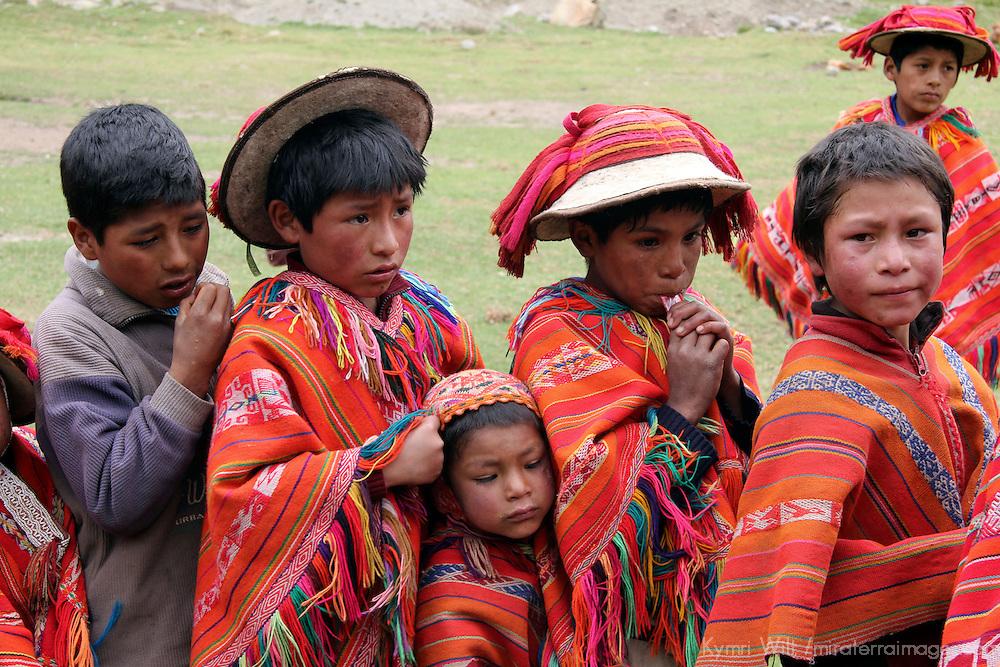 South America, Peru, Willoq. Peruvian boys of Willoq Community in traditional dress.