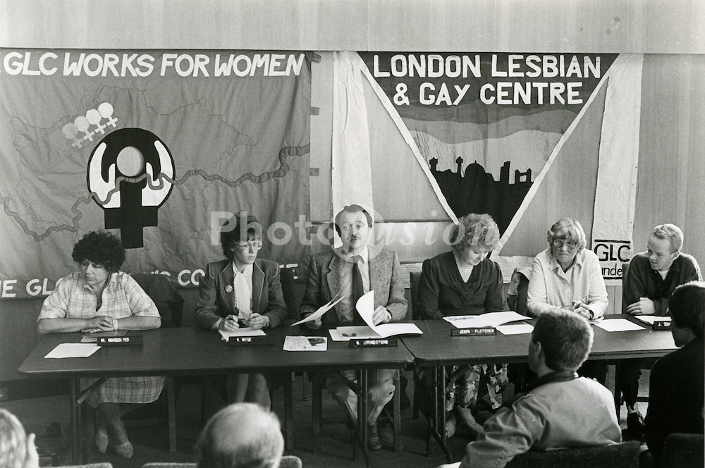 Launch of 'Changing the World' GLC lesbian and gay charter; County hall London; October 1985 L to R  Miriam Margolyes; Valerie Wise; Ken Livingstone;Jenni Fletcher; Rosemary Manning; Jimmy Somerville,