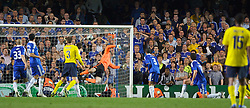 LONDON, ENGLAND - Wednesday, May 6, 2009: Chelsea's goalkeeper Petr Cech is beaten by Barcelona's Andres Iniesta (hidden) for a dramatic injury time winning away goal to knock Chelsea out during the UEFA Champions League Semi-Final 2nd Leg match at Stamford Bridge. (Photo by Carlo Baroncini/Propaganda)