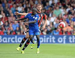 Simon Francis of Bournemouth Battles for the ball with Ngolo Kante of Leicester City - Mandatory byline: Alex James/JMP - 07966386802 - 29/08/2015 - FOOTBALL - Dean Court -Bournemouth,England - AFC Bournemouth v Leicester City - Barclays Premier League
