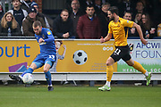 AFC Wimbledon attacker Shane McLoughlin (19) going past Southend United midfielder Stephen McLaughlin (11) and crosing the ball during the EFL Sky Bet League 1 match between AFC Wimbledon and Southend United at the Cherry Red Records Stadium, Kingston, England on 1 January 2020.