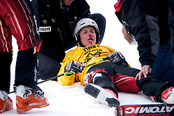30 JAN 2011: Kelly Serwa recovers from a crash at the finish line during the Skier X Finals at the ESPN Winter X Games Fifteen at Buttermilk Mountain in Aspen, Colorado.