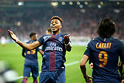 Paris Saint-Germain's French defender Presnel Kimpembe celebrates during the French League Cup, Final football match between AS Monaco and Paris Saint-Germain FC on April 1, 2017 at the Parc Olympique Lyonnais stadium in Decines-Charpieu near Lyon, France - Photo Benjamin Cremel / ProSportsImages / DPPI