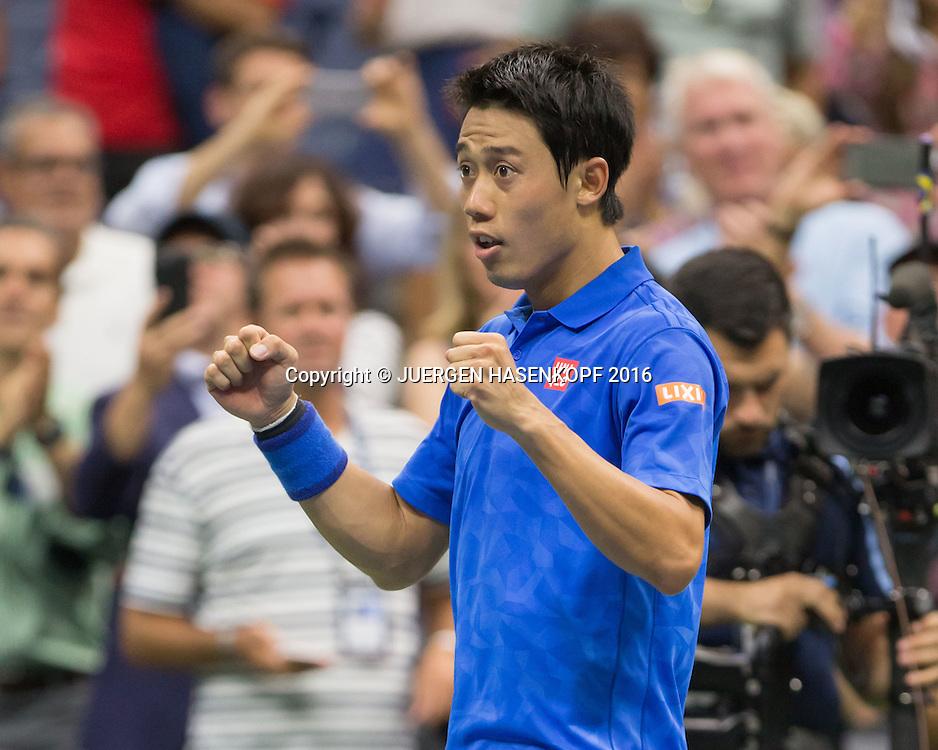 KEI NISHIKORI (JPN) jubelt nach seinem Sieg, Jubel,Emotion, Freude,<br /> <br /> Tennis - US Open 2016 - Grand Slam ITF / ATP / WTA -  USTA Billie Jean King National Tennis Center - New York - New York - USA  - 7 September 2016.