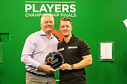 Josh Payne receives his runners up trophy from Alan Warriner during the PDC Unicorn World Youth Championship Final at Butlins Minehead, Minehead, United Kingdom on 26 November 2017. Photo by Shane Healey.