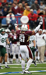Louisiana-Monroe's R.J. Young celebrates a tackle for loss against Ohio during the first quarter of the Independence Bowl NCAA college football game in Shreveport, La., Friday, Dec. 28, 2012.
