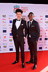 LIVERPOOL, ENGLAND - Thursday, May 10, 2018: Liverpool Under-23 players Curtis Jones and Rafael Camacho arrive on the red carpet for the Liverpool FC Players' Awards 2018 at Anfield. (Pic by David Rawcliffe/Propaganda)