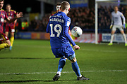 AFC Wimbledon attacker Shane McLoughlin (19) crossing the ball during the EFL Sky Bet League 1 match between AFC Wimbledon and Ipswich Town at the Cherry Red Records Stadium, Kingston, England on 11 February 2020.